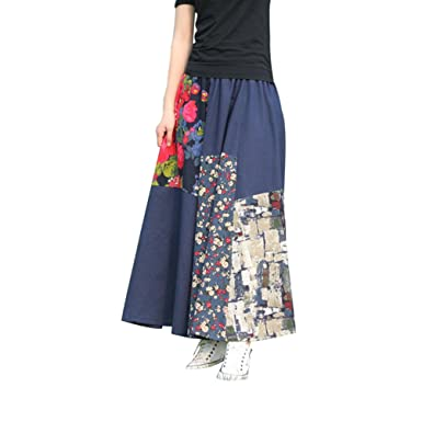 494cda08817f2b NiSeng Femme Longue Jupe Imprimée Jupe Longue Gitane Maxi Jupe ...