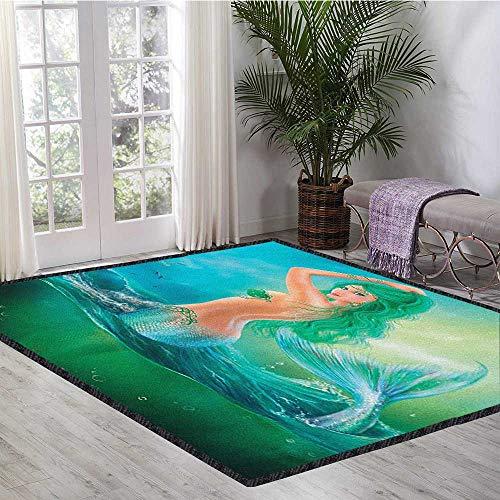 Underwater Colorful Area Rug,Mermaid in Ocean on Waves Tail Sea Creatures Dramatic Sky Dark Clouds Print for Dining Room Bedroom Blue Green -