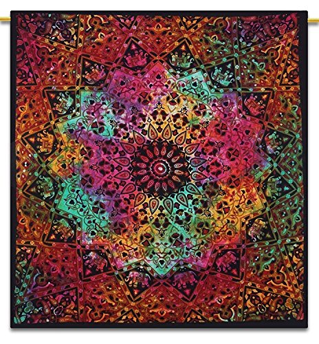 GLOBUS CHOICE INC. Multicolor Tie Dye Bohemian Tapestry Elephant Star Mandala Tapestry Tapestry Wall Hanging Boho Tapestry Hippie Hippy Tapestry Beach Curtain Coverlet 90 x 84