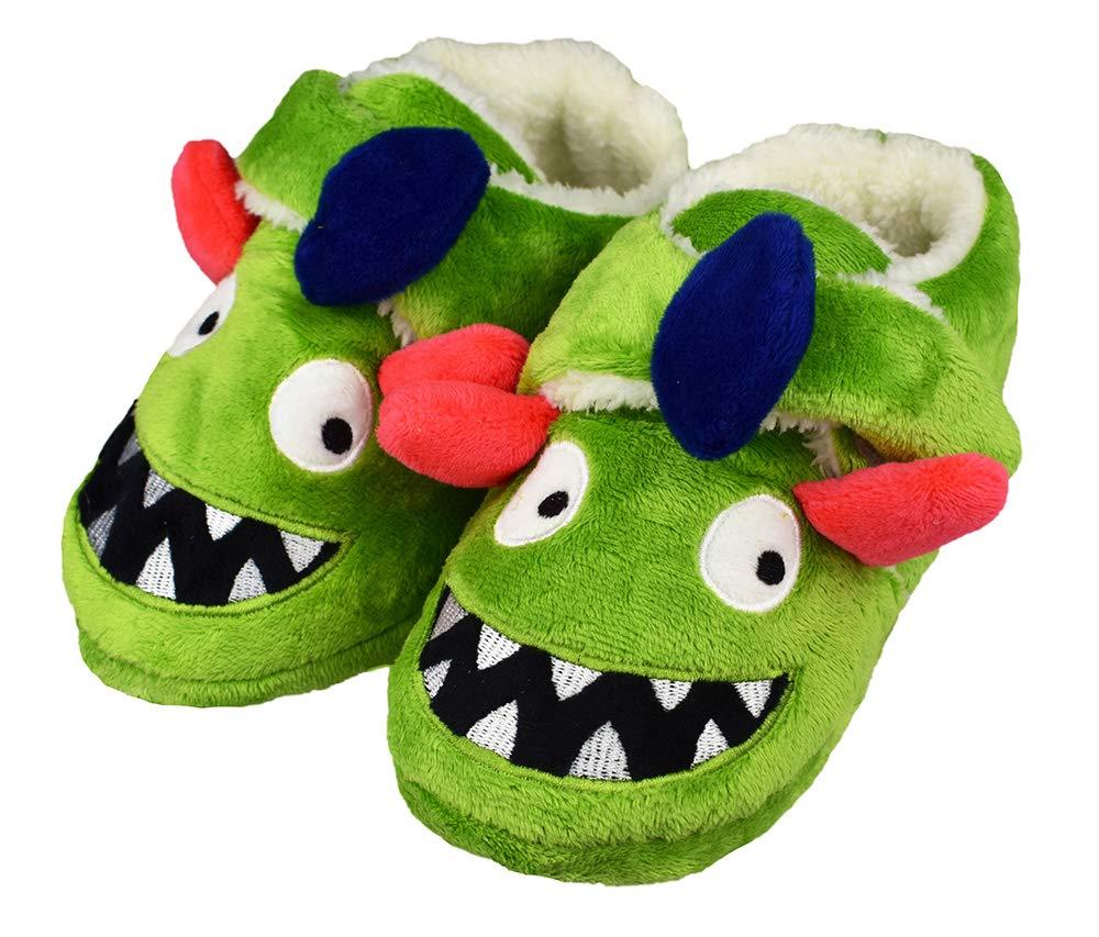Tirzrro Kids Big Boys Warm Slippers with Soft Memory Foam Indoor Anti-Slip Cute Dinosaur Slippers