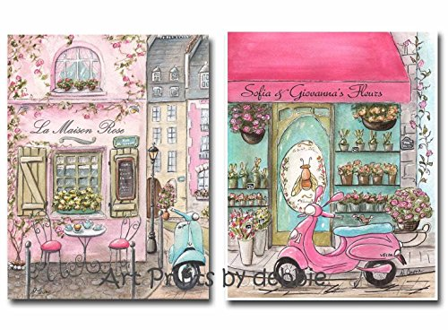 Personalized Paris Nursery Decor For French Themed Girls Room, Set Of 2, Twin Girl Nursery Decorating Idea, Pink French Baby Shower Gift, 6 Sizes