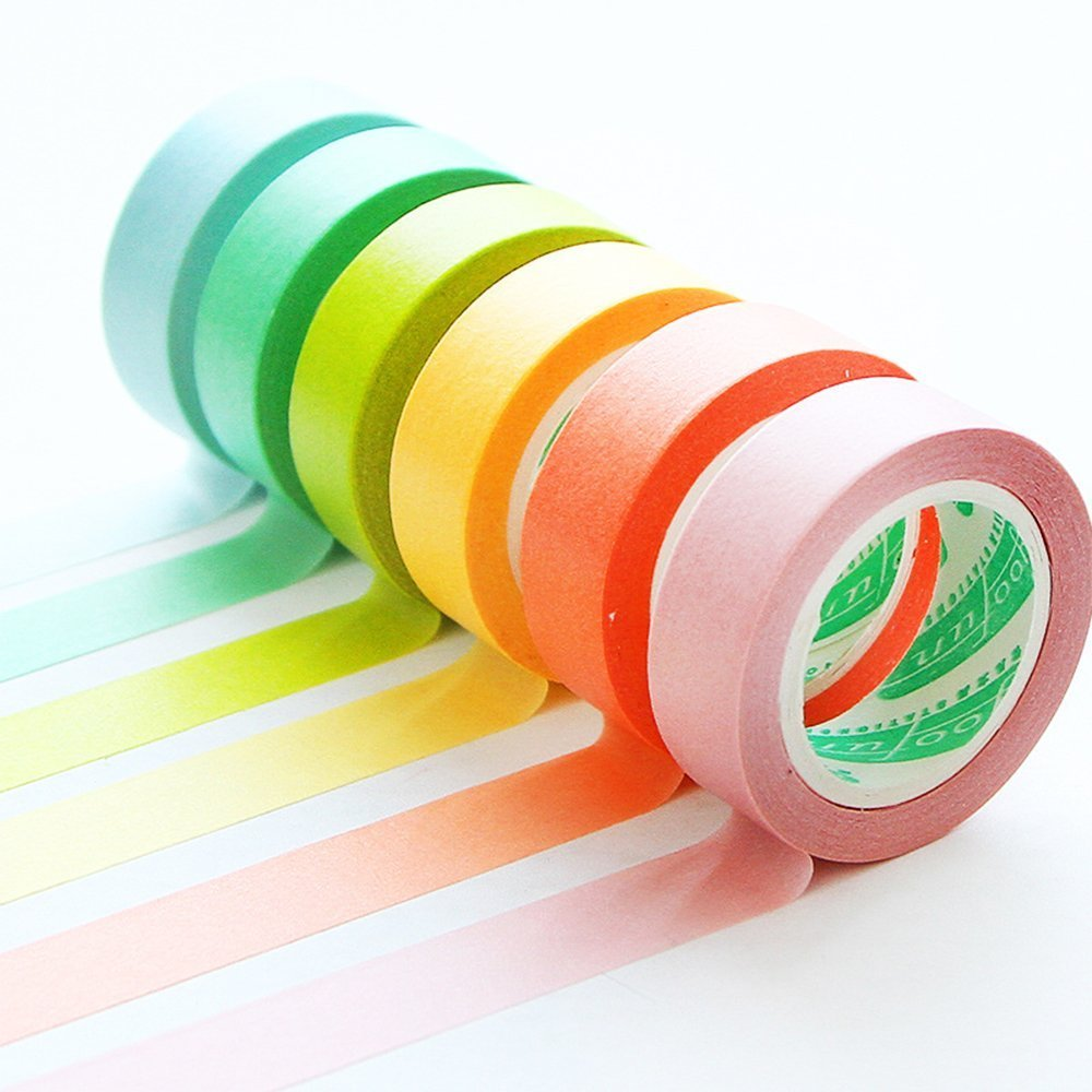 711796632633 10pcs Colorful Washi Tape Set with Full Rainbow of Pastel Colors Masking Adhesive Tape Diary Scrap Booking DIY DD GOODS