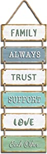 """Jeune Decor Large Rustic & Vintage Vertical Wooden Wall Hanging Sign for Home Decoration with a Quote(Family Always Trust Support Love Each Other). 11.75"""" x 32"""""""