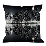 HGOD DESIGNS Throw Pillow Cover New York Night City Landscape Rise Building Black Home Decorative Pillow Cases Cotton Linen Square Cushion Covers For Sofa Couch 18x18 Inch