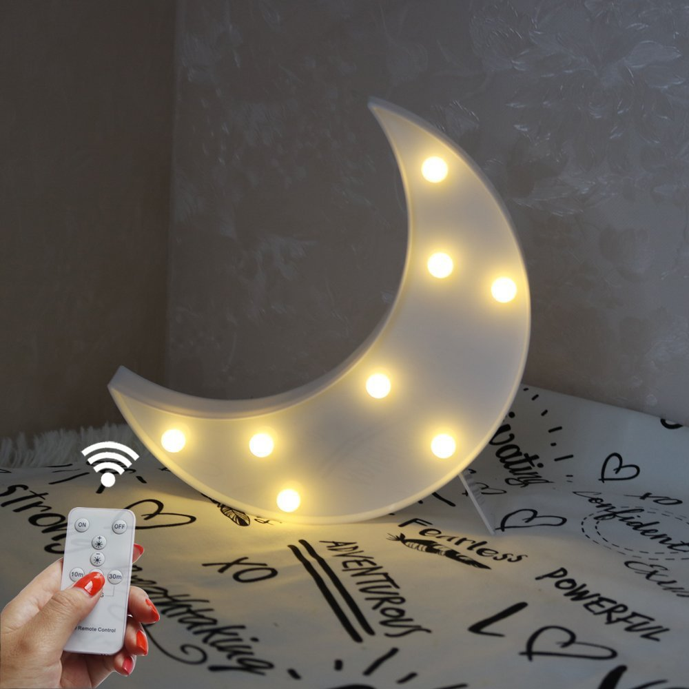 Battery Operated Night Light LED Marquee Sign with Wireless Remote Control for Kids' Room, Bedroom, Gift, Party, Home Decorations(White Moon)