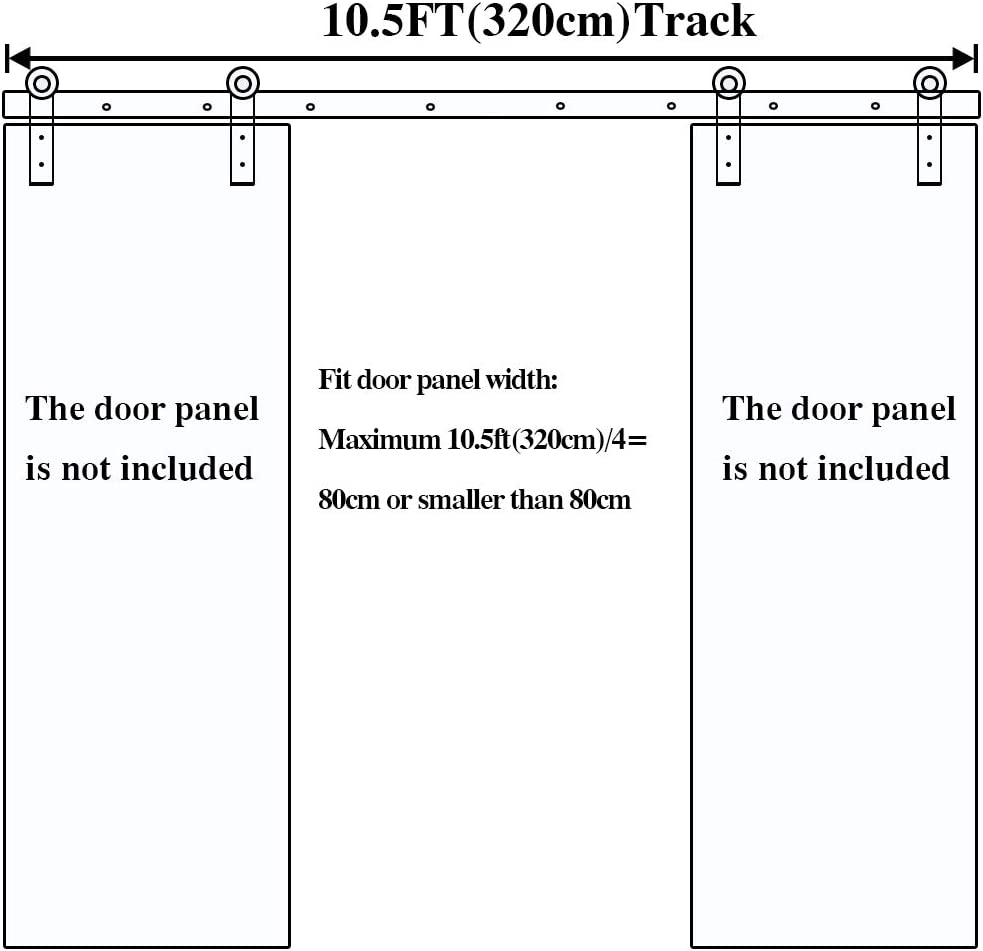6FT//183cm Quincaillerie Kit de Rail pour Porte de Coulissante Double Porte Suspendue en Bois,Noirs I-Form