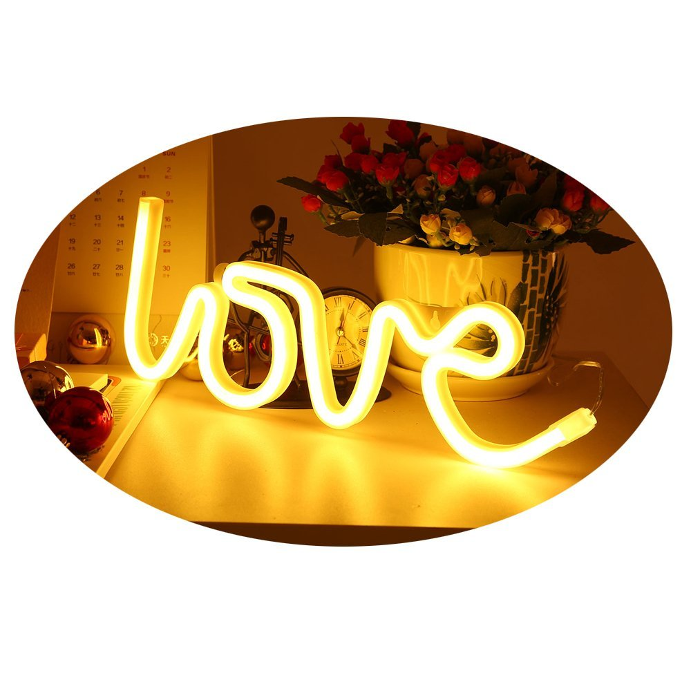 Amroe 2018 Christmas Light Love Heart Light Tube Neon Romance Atmosphere Artifact LED Waterproof Lamp Room Decoration Gift (White)