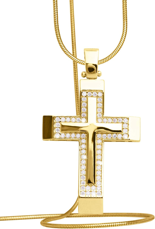 14 Karat Kreuz Anh/änger Gelbgold Wei/ßgold Weissgold 585 Gold Mit 134 Zirkonia 35mm x 21mm Goldkreuz Goldanh/änger Bliff V0013096 Ohne Kette