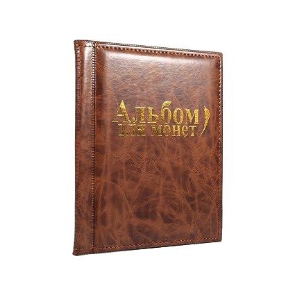 b16e0c76a8 Raccoglitore Per Collezione Di Monete Valuta Di Libri Album Monete, 10  Pagine, 250 Tasche, Lingua Russa ( Colore : Marrone ): Amazon.it: Casa e  cucina