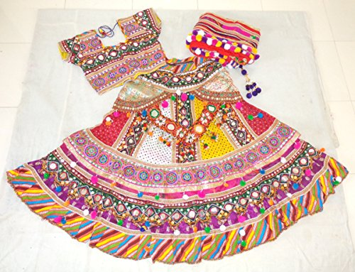 [Megh Craft Women's Banjara style sanedo chaniya choli - Navratri wear chaniya choli - Ghagra choli] (Banjara Dance Costumes)