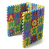 UNIE 36 Pcs Mini Alphabet Numbers Puzzle, Eva Foam Puzzles for Building Blocks, Floor Play Mat Educational Learning Toy for Toddlers, Babies