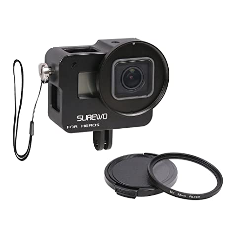 SUREWO Aluminum Case Frame,CNC Skeleton Housing with 52mm UV Filter Compatible with GoPro Hero New 7/6(2018)/5 Black