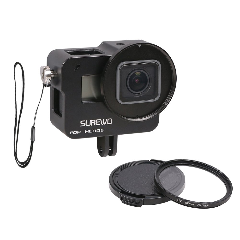 SUREWO CNC Aluminum Alloy Protective Housing Case Aluminium Frame Shell with 52mm UV Filter & Lens Cap and Hot Shoe Compatible Gopro Hero (2018) 6 5 Black (Black) by SUREWO
