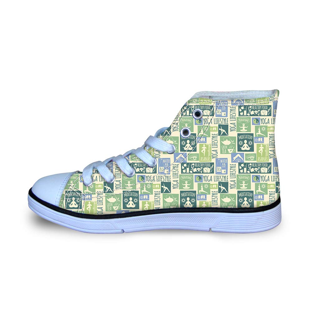 Canvas High Top Sneaker Casual Skate Shoe Boys Girls Yoga Life Style
