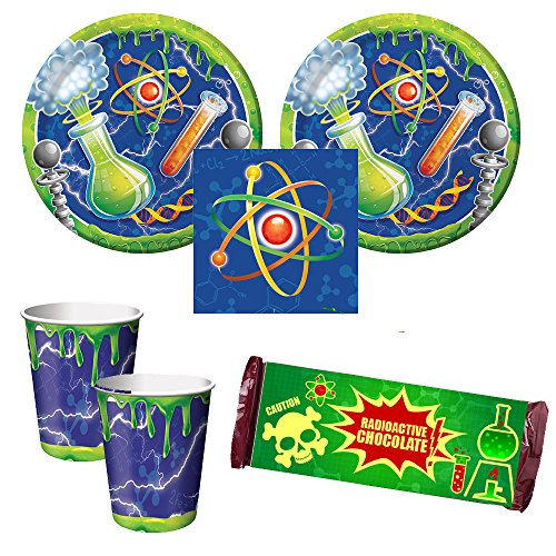 Mad Scientist birthday Party Supplies - 16 guests - dinner plates, napkins, cups, chocolate bar wrappers