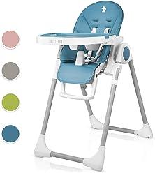 Kompakter Hochstuhl f/ür Babys Verstellbar und Klappbar Abnehmbares BPA-freies Tablett Schicker Hochsitz mit Komfortpolster Babystuhl mit 5-Punkt Gurt Kinderstuhl mit Tisch