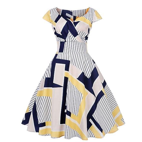 Loveso Kleider Damen V Ausschnitt Rockabilly Kleid Elegante