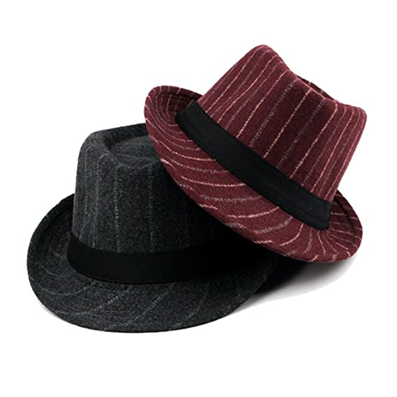 d2395e600f1 Zhhlaixing Men Striped Woolen Short Brim Gangster Fedora Hat With Black  Band  Amazon.co.uk  Clothing