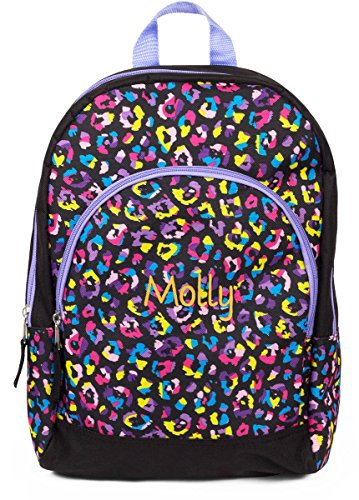 Personalized Rainbow Leopard Kid Backpack with Embroidered Name on Bottom Pocket