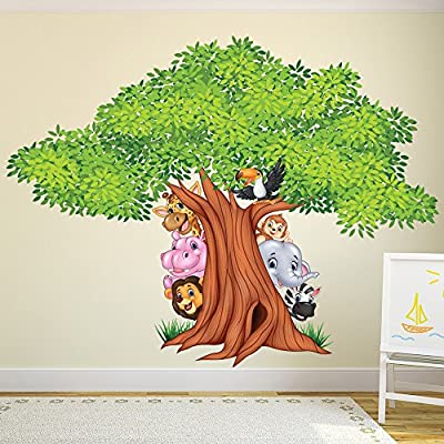 azutura Jungle Tree Wall Sticker Animal Lion Wall Decal Nursery Home Decor available in 8 Sizes