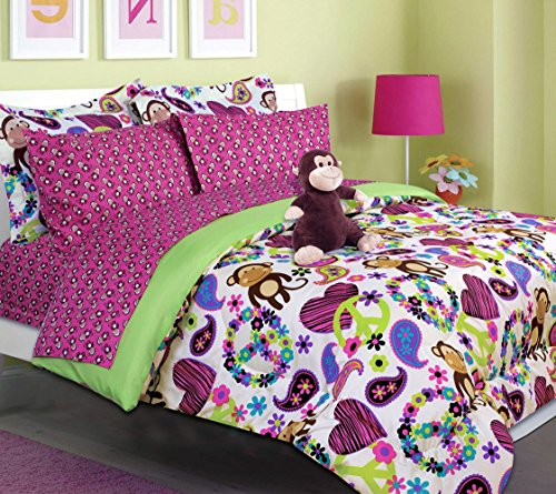 Girls Kids Bedding-FABIAN MONKEY Tween Teen Dream Bed In A Bag. TWIN SIZE Comforter set, Sheet Set and Plush Toy Included -Peace, Hearts-Hot Pink, Turquoise Blue, Purple, Black and White