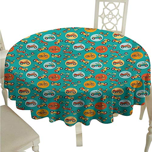 Round Tablecloth for Wedding Black Motorcycle,Urban Transport Theme with Different Two Wheeled Vehicles in Dots,Turquoise Orange Marigold D54,for Baby Shower ()