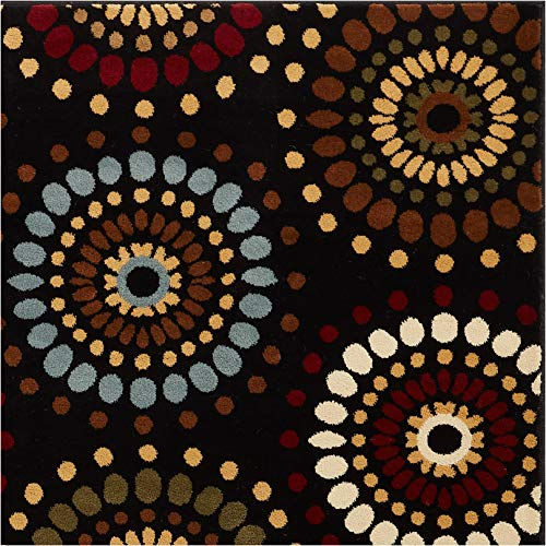 (Blossom Valley Black Multi Floral Nature Modern Casual Area Rug 5x7 (5'3