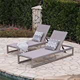 Great Deal Furniture San LuisOutdoor Grey Mesh Chaise Lounge with Silver Finished Aluminum Frame (Set of 2)