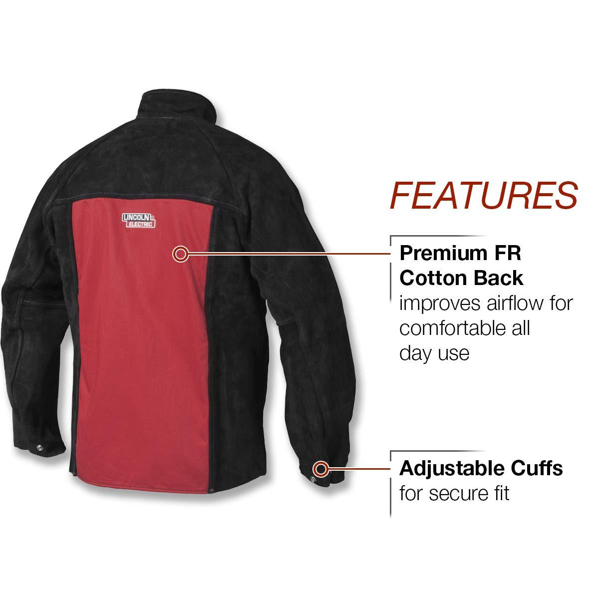 Lincoln Electric K2989-L - Chaqueta de soldar (piel resistente, talla L), color negro y rojo: Amazon.es: Amazon.es
