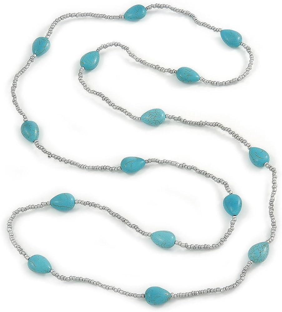Largo collar de cuentas de cristal de piedra de color turquesa y plateado metálico–120cm L