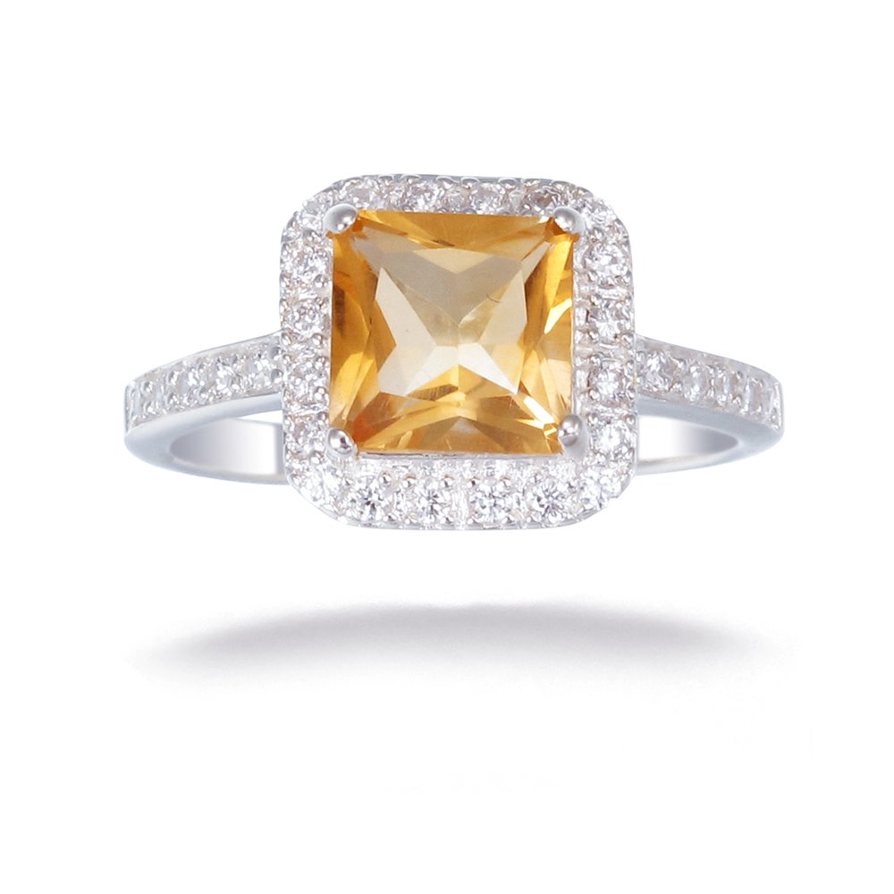 Sterling Silver Citrine Ring 1 CT