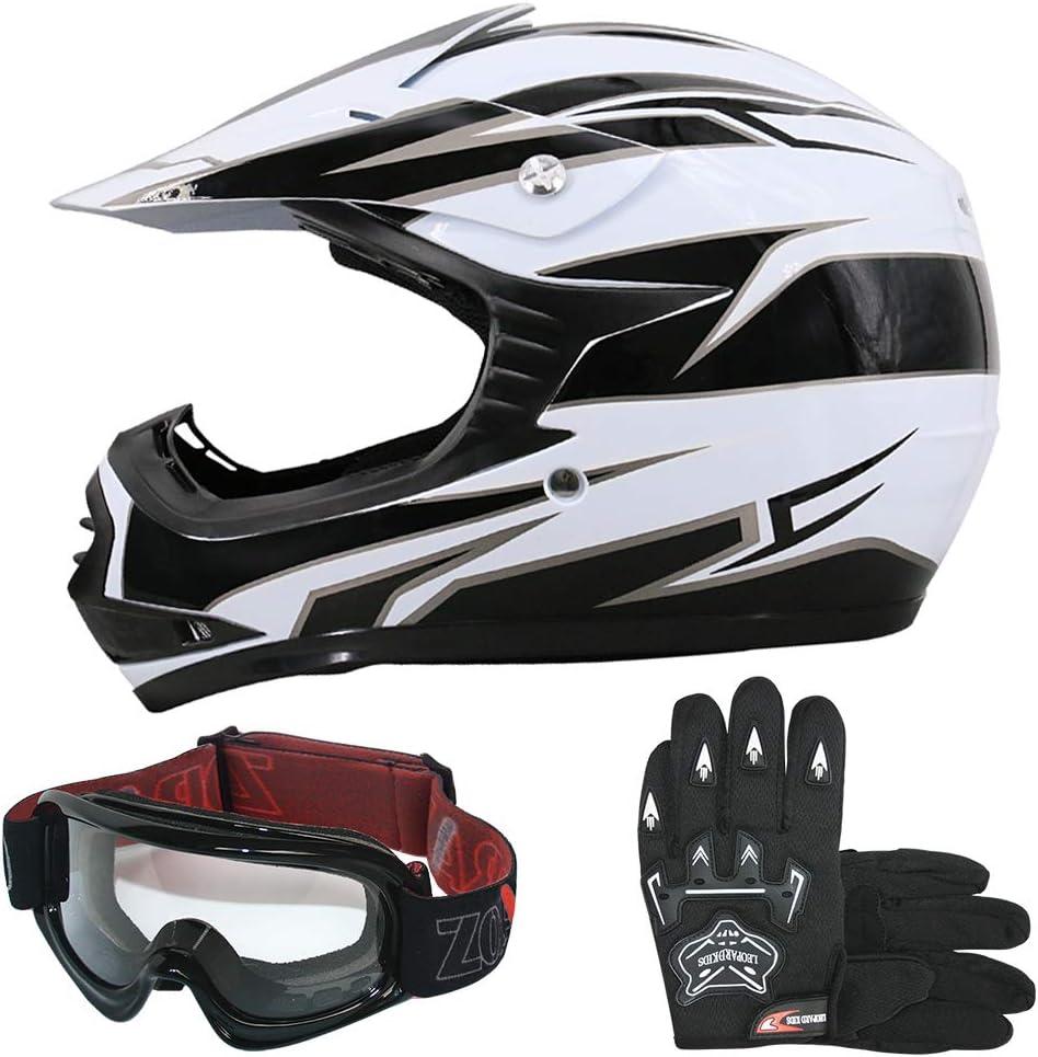 Leopard Leo X16 Rot Kinder Motorrad Helm L 53 54cm Handschuhe L 7cm Zorax Brille Kinder Motorradhelm Full Face Mx Helmet Mädchen Jungen Dirt Bike Auto