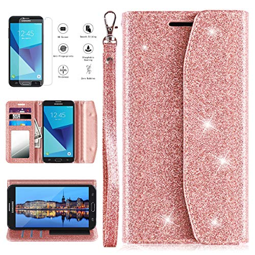 Samsung Galaxy J3 Luna Pro Case, Galaxy J3 Prime Case, J3 Emerge/J3 Eclipse/J3 2017/Amp Prime 2/Express Prime 2/Sol 2/J3 Mission Wallet Phone Case with Screen Protector Card Holder for women,Rose Gold