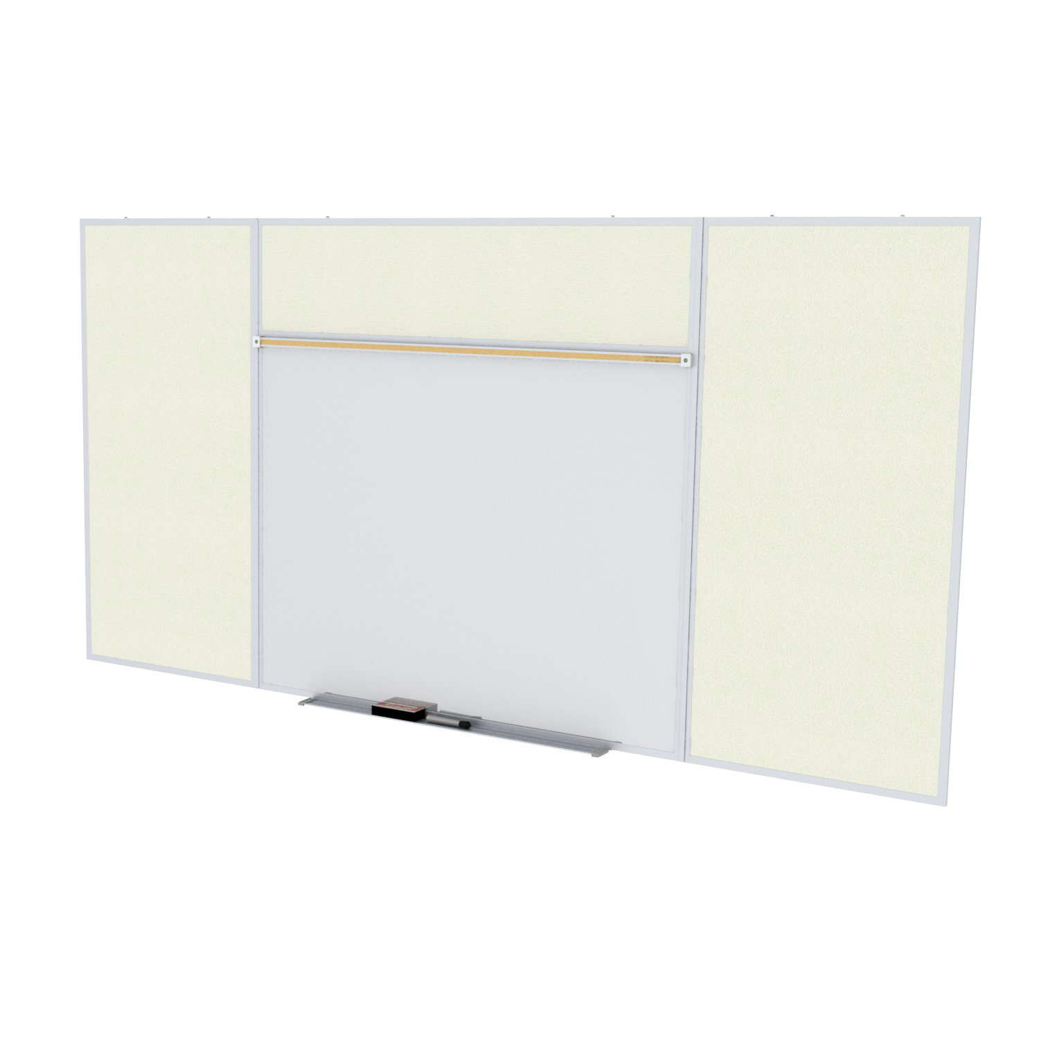 Ghent Style E 4 x 16 Feet Combination Board, Porcelain Magnetic Whiteboard and Vinyl Fabric Bulletin Board, Ivory , Made in the USA