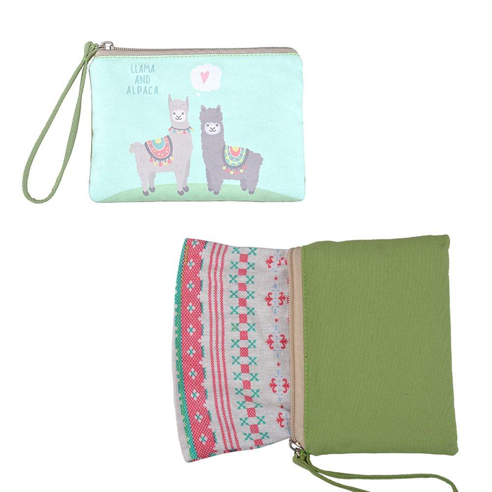 Cellphone Bag with Handle CBG0014 Llama With Glasses Make up Bag Rantanto Cute Canvas Cash Coin Purse