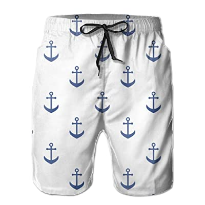 Usieis Blue Anchors Pattern Surfing Pocket Elastic Waist Men's Beach Pants Shorts Beach Shorts Swim Trunks