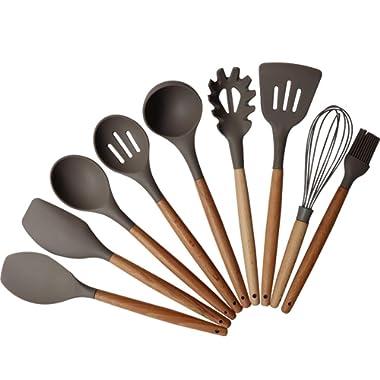 FamilyDate Kitchen Utensil Set - Baking Tool Set - Gourmet Non-Stick Silicone Cooking Tools Bamboo Handles - Silicone Cooking Utensil Set - Gear Silicone Kitchen Utensils