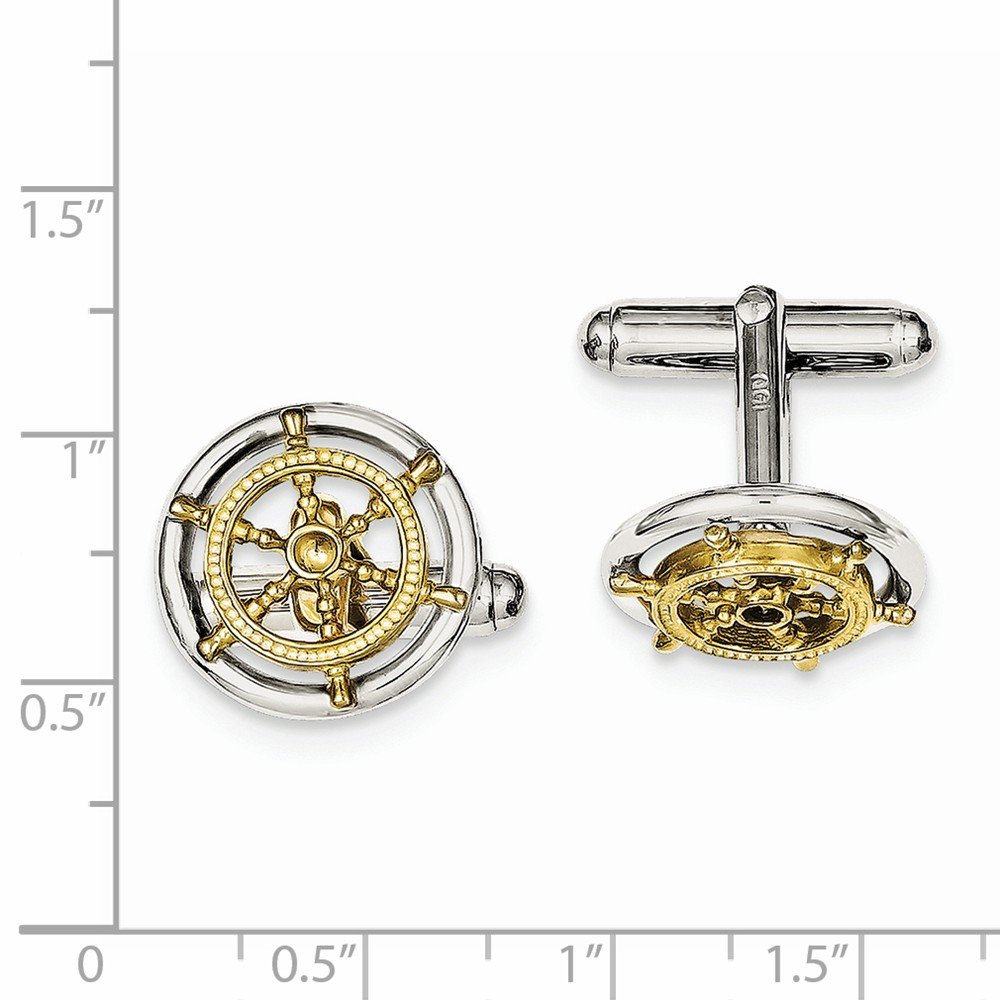 ICE CARATS 925 Sterling Silver Vermeil Sailor Wheel Cuff Links Mens Cufflinks Man Link Fine Jewelry Dad Mens Gift Set by ICE CARATS (Image #4)