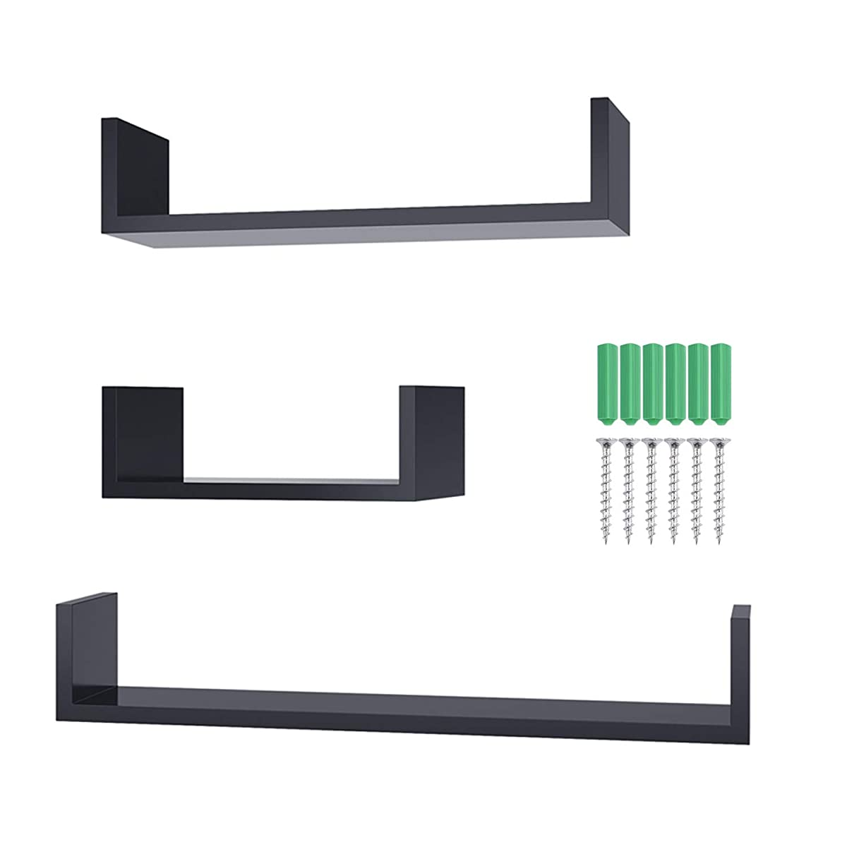 Homdox Wall Shelves Set of 3 Large Floating U Shelves DIY, Black