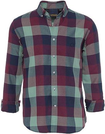 ALTONADOCK Camisa Cuadros Granate Y Verde para Hombre: Amazon.es: Ropa y accesorios