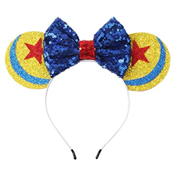 Cute Tangled Rapunzel Bow Tie inspired Gold Sparkle Minnie Mouse Headband Ears
