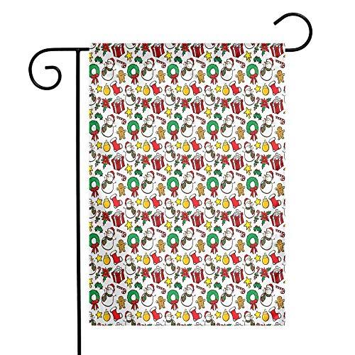 (Christmas Garden Flag Festive Celebration of Xmas Garland Candy Cane Snowman Mistletoe Tree Ornaments Premium Material W12 x L18 Multicolor)
