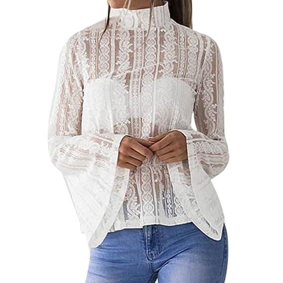 Yying Mujer Blusas de Encaje Camisa Transparente de Verano Mujeres Camisetas Manga Larga Top con Bordado
