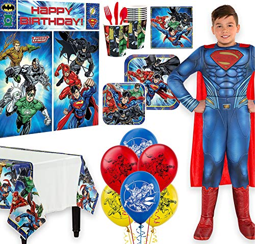 Warner Brothers Justice League Birthday Party Kit, Includes Superman Costume 4-6, Tableware, Décor, Balloons, Serves 8