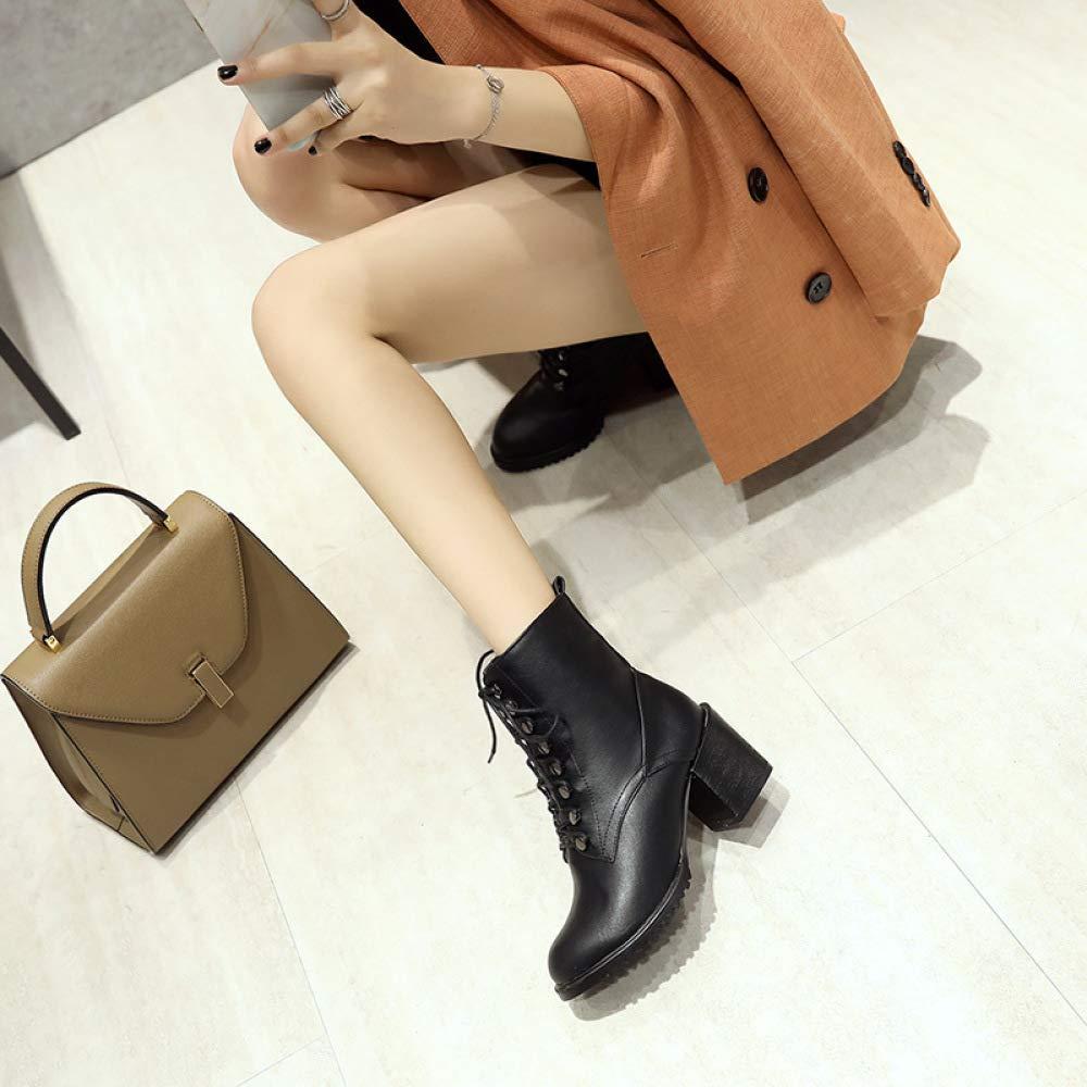 SHINIK Damenmode Schnürschuh Leder Stiefeletten 2018 Winter High-Heel Schnürschuh Damenmode Martin Stiefel Größe 33-43 0e7d35