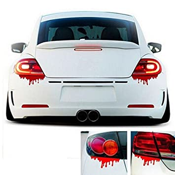 Amazon com iuhan fashion red blood car stickers reflective car decals light bumper body sticker decal automotive