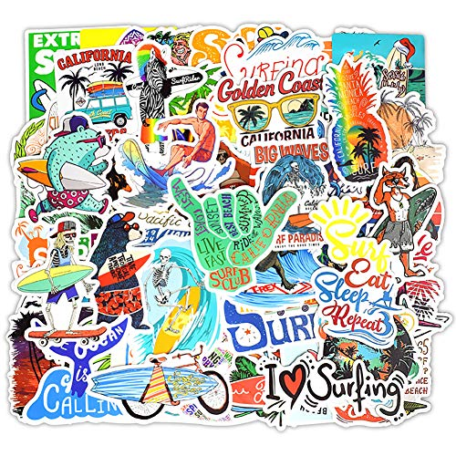 Water Bottle Stickers Surfing Sports 50 Pcs Laptop Stickers Pack Waterproof Surfboard Decals for Water Bottle Laptops Ipad Cars Luggages