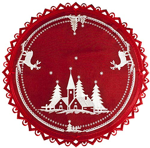 Christmas Embroidered White Church and Deer on Red 24 Inch Round Doily Place Mat Small Table Topper (Topper Christmas Round Table)