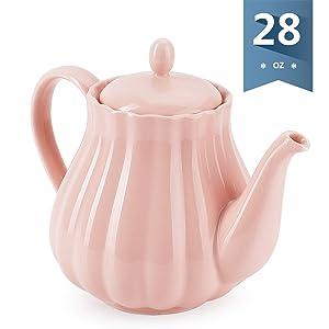 Sweese 222.108 Teapot Pumpkin Fluted Shape, Pink - 28 Ounce