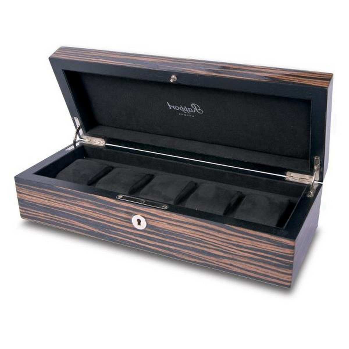 Rapport London Macassar Wood Five Watch Box Storage